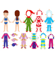 Paper doll and warm clothes set for her vector