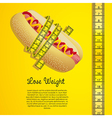 Meter around the hot dog over yellow background vector