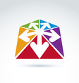 3d abstract emblem with multidirectional arrows in vector