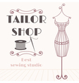 Vintage iron mannequin with sewing icon vector