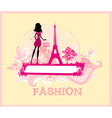 Beautiful women shopping in paris - card vector