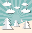 Paper winter landscape with trees and clouds vector