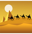 Tourists on camels in desert vector