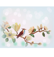 Blooming magnolia in spring a bird vector