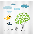 Paper trees birds and clouds on cardboard vector
