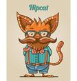 Cartoon hipster style cat vector