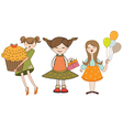 Set of three young girls with gifts isolated on vector