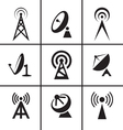 Antenna and satellite dish icons set vector