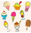 Set of colored ice creams sketches vector