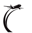 Airplane silhouette on white background vector