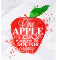 Poster watercolor apple red vector