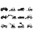 Black construction vehicles icons set vector