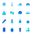 Winter icons with reflect on white background vector