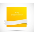 Orange card with white ribbon vector