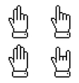 Set of black pixel hand icons vector
