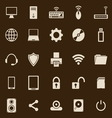 Computer color icons on brown background vector