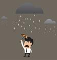 Businessman under a little umbrella in the rain vector