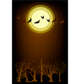 Dark forest in full moon night background vector