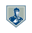 Security guard flashlight shield retro vector