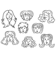 Set of eight cartoon women contour faces vector