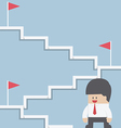 Businessman climbing on the stairway to target vector