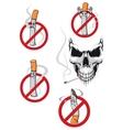 No smoking sign and skull vector