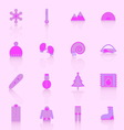 Winter icons with reflect on pink background vector