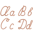 A b c d letters metal copper wire vector
