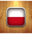 Rounded square polish flag icon on wood texture vector