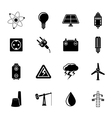 Silhouette power and electricity industry icons vector
