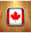 Rounded square canadian flag icon on wood texture vector