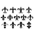 Black royal fleur de lis flowers set vector