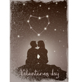 Kissing couple under the constellation of love vector