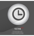 Watch flat modern web button with long shadow and vector