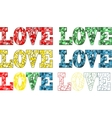 Word love in stained glass style vector