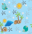 Seamless pattern with bird palm tree and coconuts vector