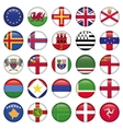 Set of european round flag icons vector