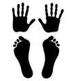 Old man hand foot prints silhouettes vector
