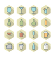 Thin line icons for drinks vector