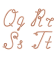 Q r s t letters made of metal copper wire vector
