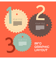 Three steps retro paper infographics flat design vector