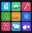 Christmas and new year flat icons with long shadow vector