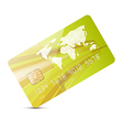 Green credit card isolated on white backgrou vector