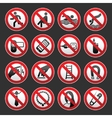 Prohibited signs gray background vector