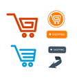 Shopping cart basket web symbols icons set vector