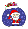 Funny santa claus with bag full of gifts vector