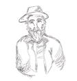 Old man sketch hand drawn vector