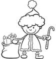 Santa claus kid cartoon coloring page vector