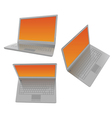 Three laptops with orange screen vector