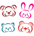 Teddy animals portraits icons outlined toys vector